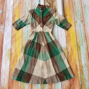 Vintage 50/60s Trudy Hill Plaid Midi Shirt Dress